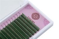 """Цветные ресницы Enigma микс 0,07/L/7-12 mm """"Green"""" (6 линий)"""